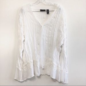 Apostrophe Woman Crinkle Sheer Lacy Blouse